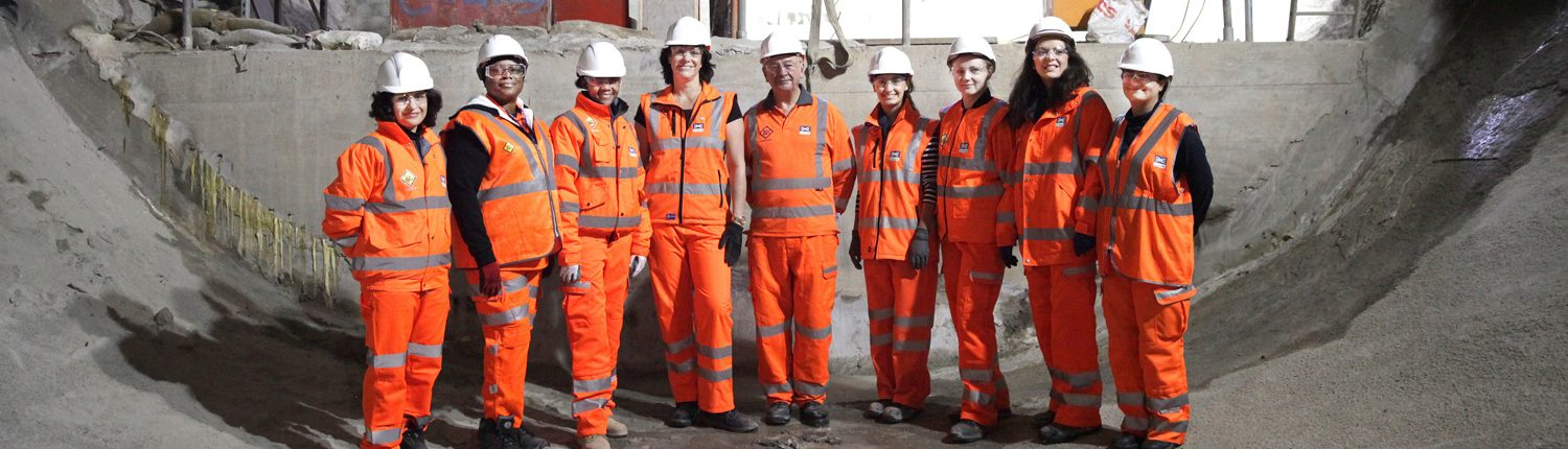 Women construction workers inside Crossrail tunnel