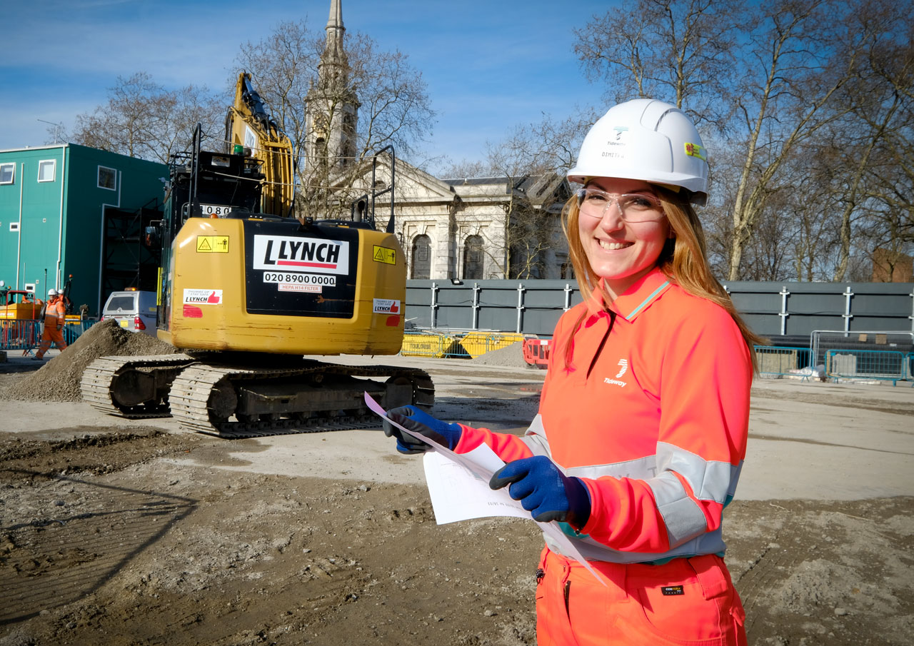 Woman on Tideway construction site