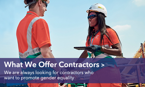 What we offer contractors - we are always looking for contractors who want to promote gender equality